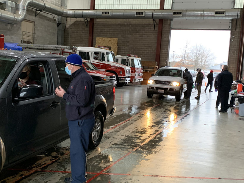 EMS drive-thru vaccination clinic at the Fire Training Center